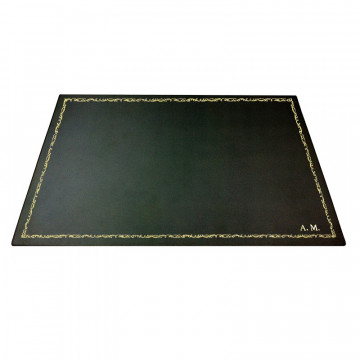 Anthracite leather desk pad, gray calf leather - Conti Borbone - Customizable mat - 106 decoration - block letters