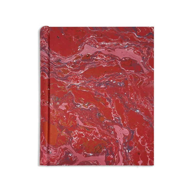 Photo album in marbled paper red, blue white Emanuele - Conti Borbone - Standard front