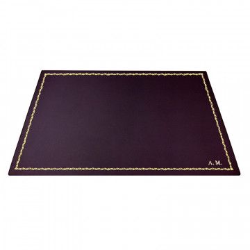 Aubergine leather desk pad, violet calf leather - Conti Borbone - Customizable mat - 90 decoration - block letters