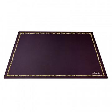 Sottomano pelle Melanzana, pelle di vitello viola - Conti Borbone - Tappetino personalizzabile - decorazione 150 - corsivo