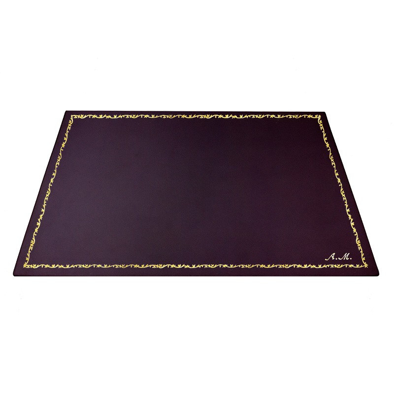 Aubergine leather desk pad, violet calf leather - Conti Borbone - Customizable mat - 150 decoration - italic