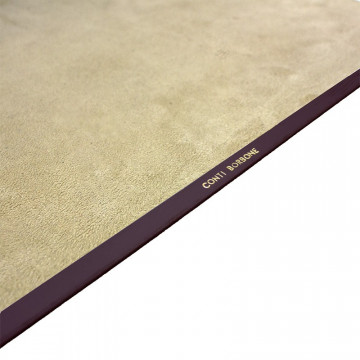Aubergine leather desk pad, violet calf leather - Conti Borbone - Customizable mat - Brand