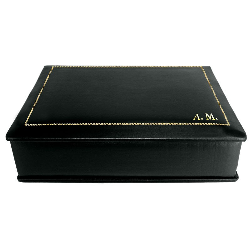 Dark leather box -  smooth black calfskin - Conti Borbone - flocked interior - gold decoration - block letters - side