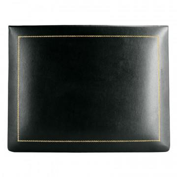 Cofanetto pelle dark in pelle di vitello liscio nero - Conti Borbone - decorazione in oro alto