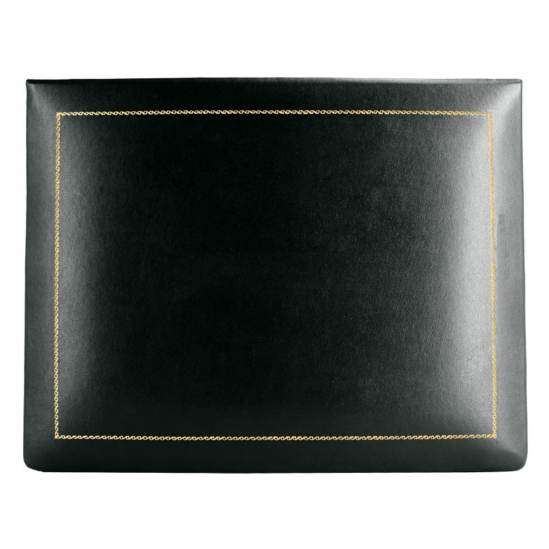 Dark leather box -  smooth black calfskin - Conti Borbone - flocked interior - gold decoration - high