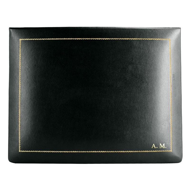 Dark leather box -  smooth black calfskin - Conti Borbone - flocked interior - gold decoration - block letters - high