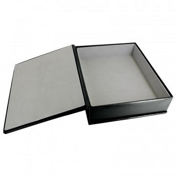 Dark leather box -  smooth black calfskin - Conti Borbone - flocked interior