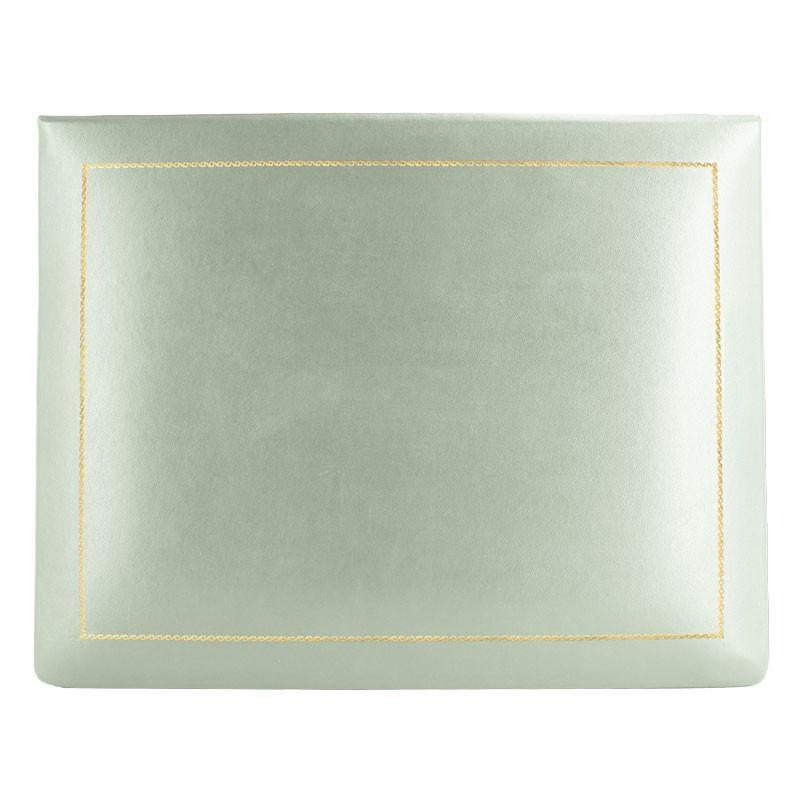 Aqua leather box -  smooth blue calfskin - Conti Borbone - flocked interior - gold decoration - high