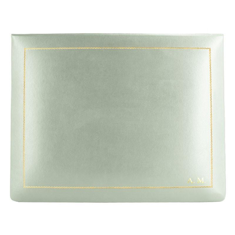Cofanetto pelle Aqua in pelle di vitello liscio azzurro - Conti Borbone - decorazione in oro - stampatello - alto