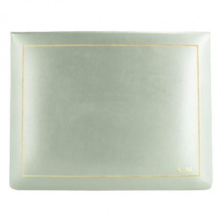 Aqua leather box -  smooth blue calfskin - Conti Borbone - flocked interior - gold decoration - block letters - high