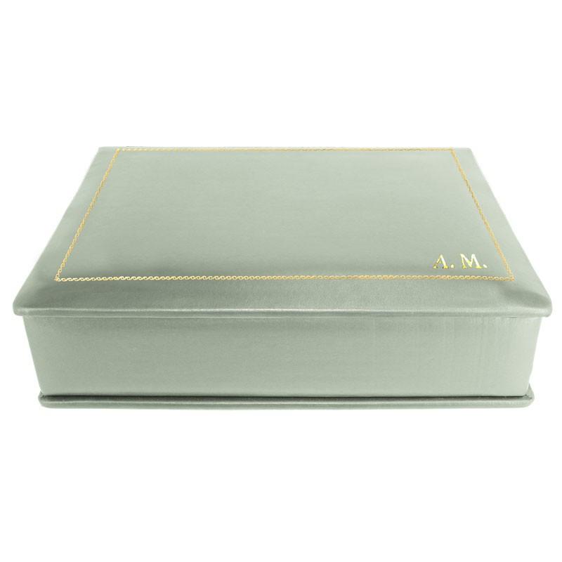 Aqua leather box -  smooth blue calfskin - Conti Borbone - flocked interior - gold decoration - block letters - side