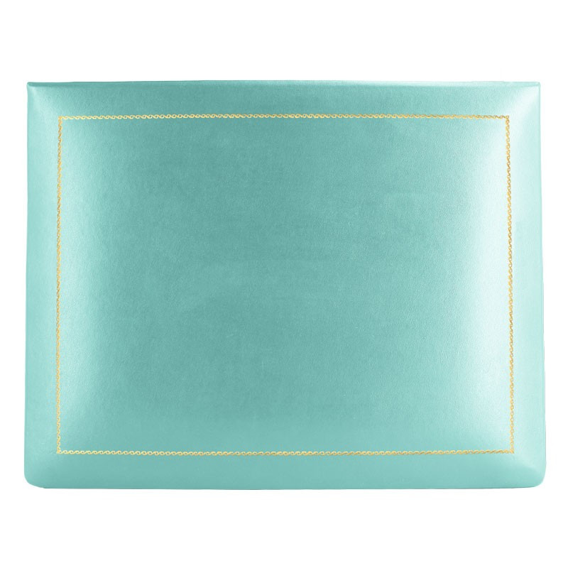 Turquoise leather box -  smooth blue calfskin - Conti Borbone - flocked interior - gold decoration - high