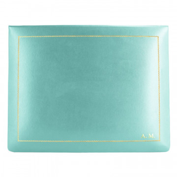 Turquoise leather box -  smooth blue calfskin - Conti Borbone - flocked interior - gold decoration - block letters - high