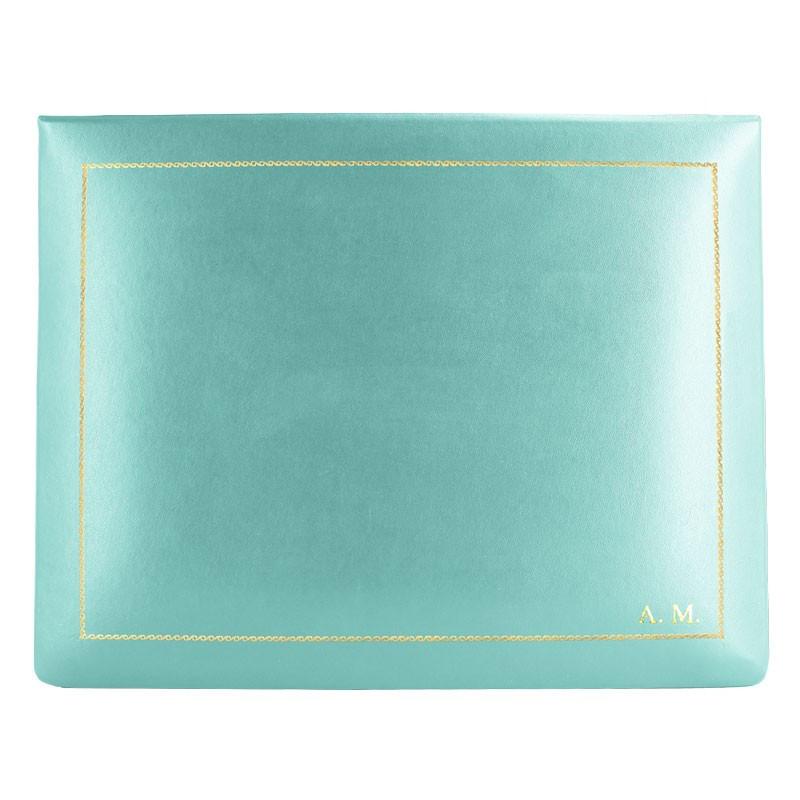 Cofanetto pelle Turchese in pelle di vitello liscio azzurro - Conti Borbone - decorazione in oro - stampatello - alto