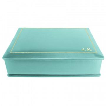 Cofanetto pelle Turchese in pelle di vitello liscio azzurro - Conti Borbone - decorazione in oro - stampatello - lato