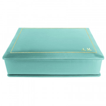 Turquoise leather box -  smooth blue calfskin - Conti Borbone - flocked interior - gold decoration - block letters - side