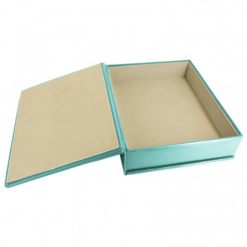Turquoise leather box -  smooth blue calfskin - Conti Borbone - flocked interior
