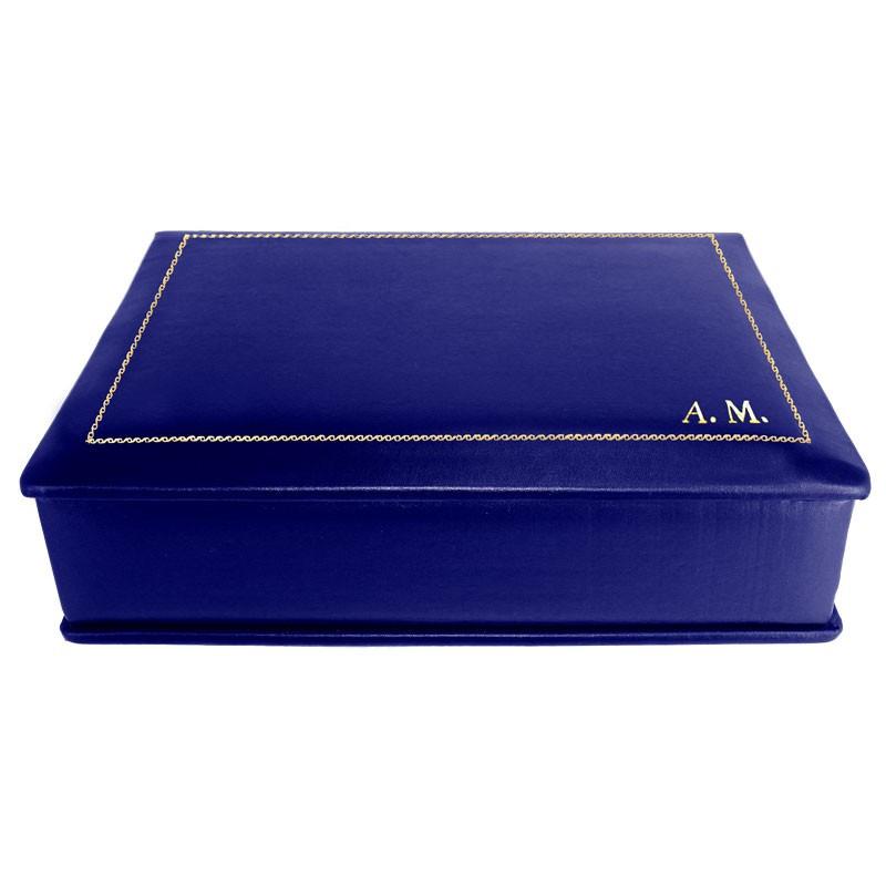 Cofanetto pelle Bluette in pelle di vitello liscio blue - Conti Borbone - decorazione in oro - stampatello - lato