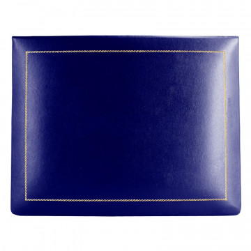 Bluette leather box -  smooth blue calfskin - Conti Borbone - flocked interior - gold decoration - high