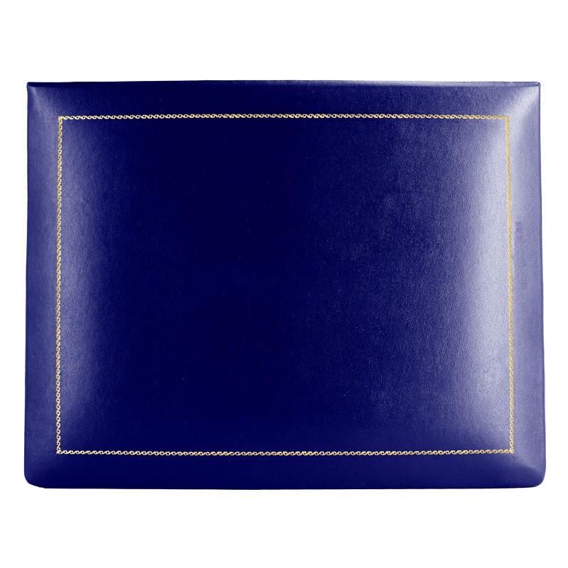Bluette leather box -  smooth blue calfskin - Conti Borbone - flocked interior - gold decoration - high