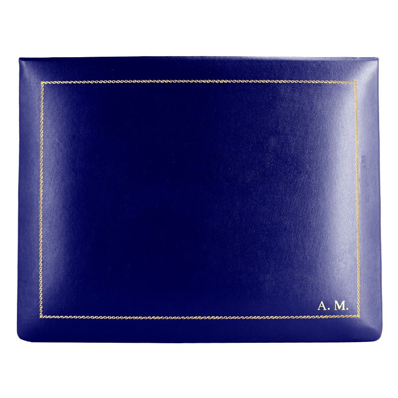 Bluette leather box -  smooth blue calfskin - Conti Borbone - flocked interior - gold decoration - block letters - high