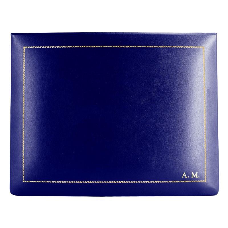 Cofanetto pelle Bluette in pelle di vitello liscio blue - Conti Borbone - decorazione in oro - stampatello - alto