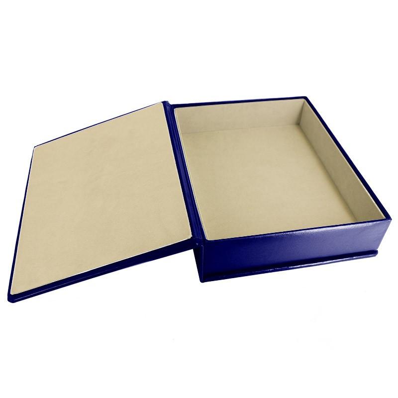 Bluette leather box -  smooth blue calfskin - Conti Borbone - flocked interior