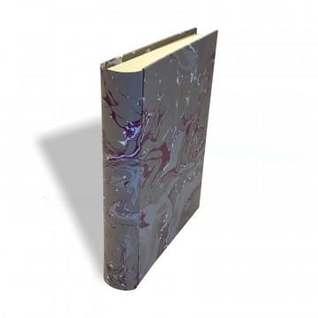 Photo album in marbled paper grey, violet and white Leonardo - Conti Borbone - standard spine