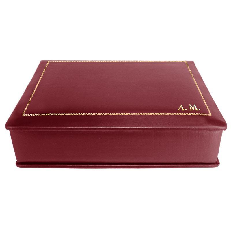 Cofanetto pelle Rubino in pelle di vitello liscio bordeaux - Conti Borbone - decorazione in oro - stampatello - lato