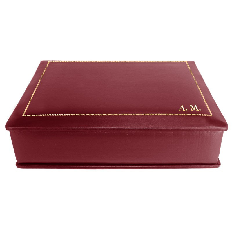 Ruby leather box -  smooth burgundy calfskin - Conti Borbone - flocked interior - gold decoration - block letters - side