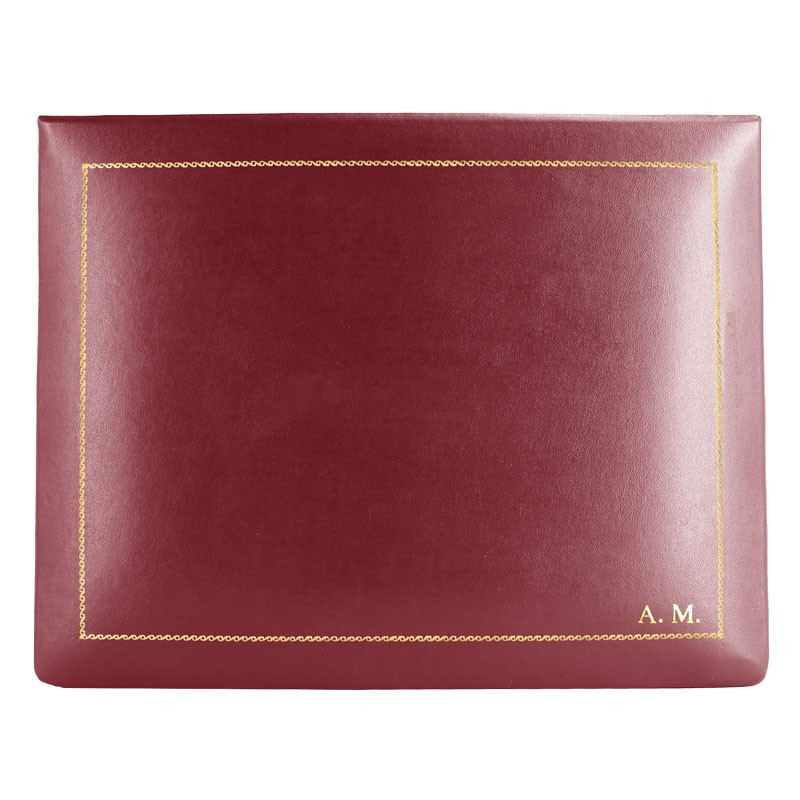 Ruby leather box -  smooth burgundy calfskin - Conti Borbone - flocked interior - gold decoration - block letters - high