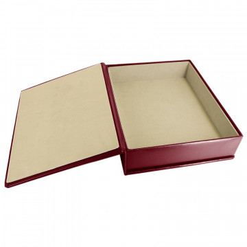Ruby leather box -  smooth burgundy calfskin - Conti Borbone - flocked interior