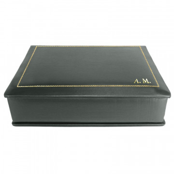 Anthracite leather box -  smooth gray calfskin - Conti Borbone - flocked interior - gold decoration - block letters - side