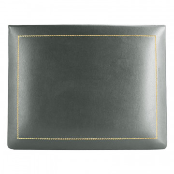 Anthracite leather box -  smooth gray calfskin - Conti Borbone - flocked interior - gold decoration - high