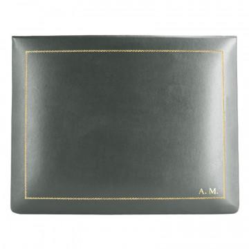 Cofanetto pelle Antracite in pelle di vitello liscio grigio - Conti Borbone - decorazione in oro  - stampatello - alto