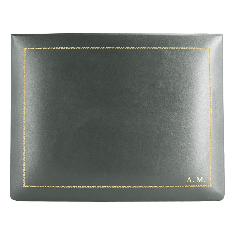 Anthracite leather box -  smooth gray calfskin - Conti Borbone - flocked interior - gold decoration - block letters - high