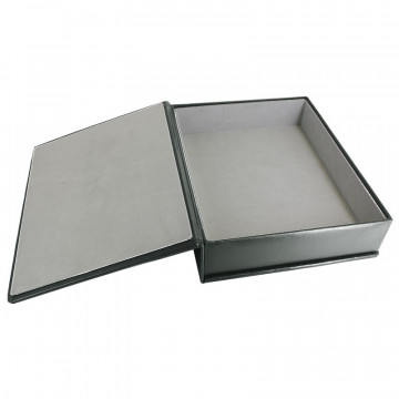 Anthracite leather box -  smooth gray calfskin - Conti Borbone - flocked interior