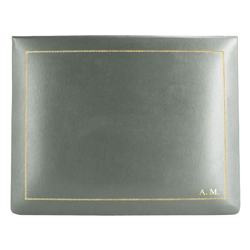 Cofanetto pelle graffite in pelle di vitello liscio grigio - Conti Borbone - decorazione in oro - stampatello - alto