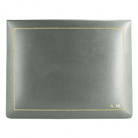 Graphite leather box -  smooth gray calfskin - Conti Borbone - flocked interior - gold decoration - block letters - high