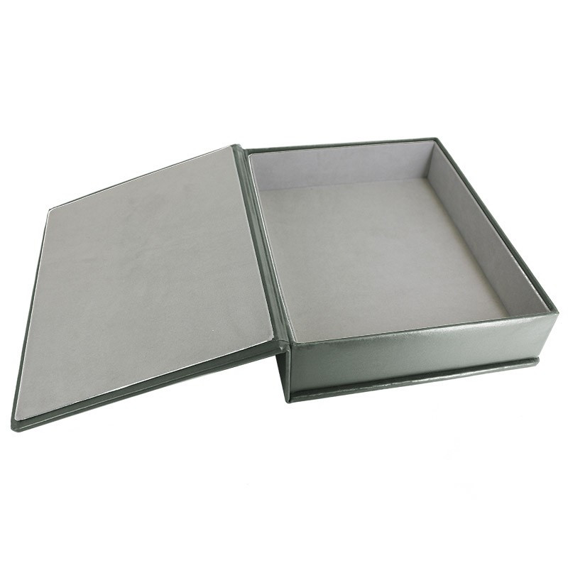 Graphite leather box -  smooth gray calfskin - Conti Borbone - flocked interior