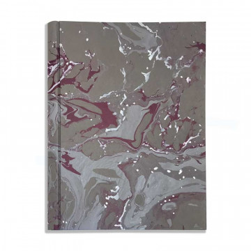 Photo album in marbled paper grey, violet and white Leonardo - Conti Borbone - Front standard