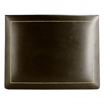 Chocolate leather box -  smooth brown calfskin - Conti Borbone - flocked interior - gold decoration - high