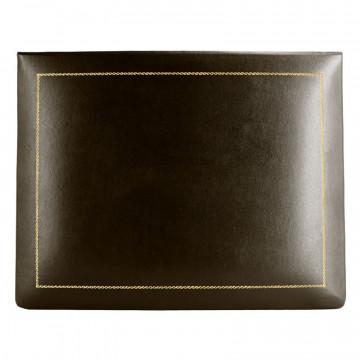 Cofanetto pelle Cioccolato in pelle di vitello liscio marrone - Conti Borbone - decorazione in oro - alto