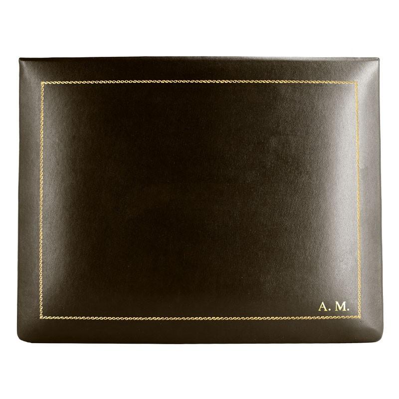 Cofanetto pelle Cioccolato in pelle di vitello liscio marrone - Conti Borbone - decorazione in oro - corsivo - alto