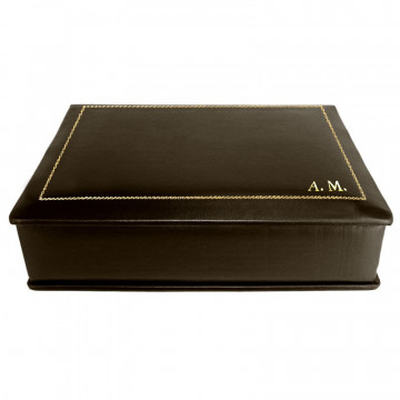 Chocolate leather box -  smooth brown calfskin - Conti Borbone - flocked interior - gold decoration - italic - side