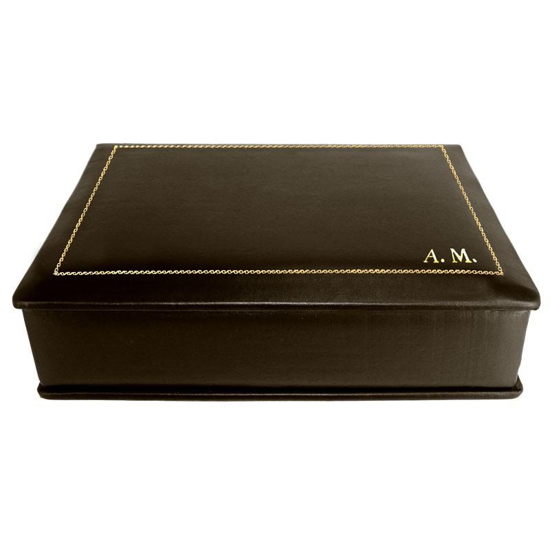 Cofanetto pelle Cioccolato in pelle di vitello liscio marrone - Conti Borbone - decorazione in oro - corsivo - lato