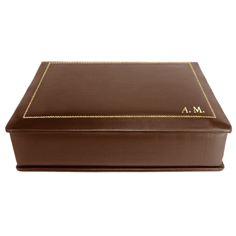 Cuoio leather box -  smooth brown calfskin - Conti Borbone - flocked interior - gold decoration - block letters - side