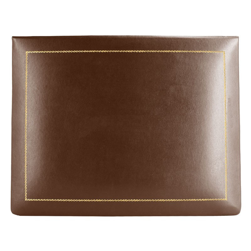 Cuoio leather box -  smooth brown calfskin - Conti Borbone - flocked interior - gold decoration - high
