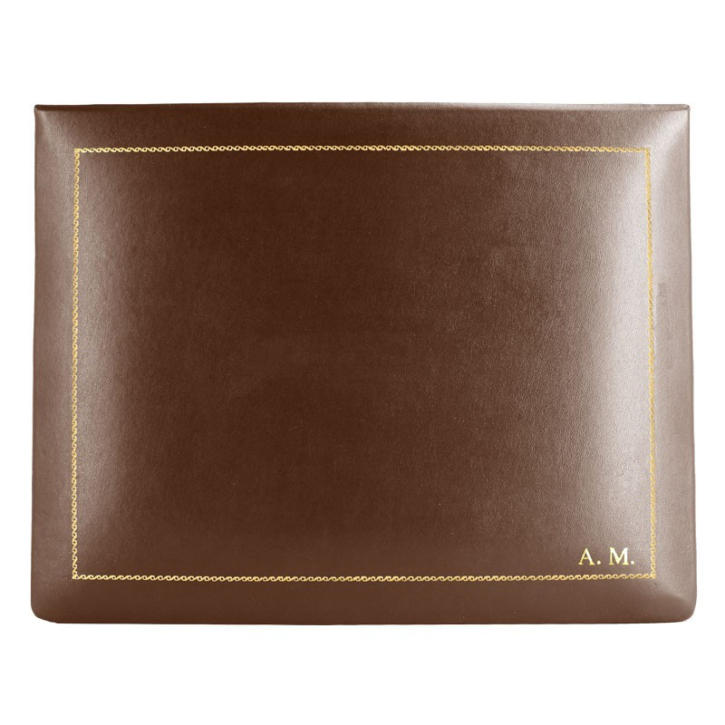 Cuoio leather box -  smooth brown calfskin - Conti Borbone - flocked interior - gold decoration - block letters - high