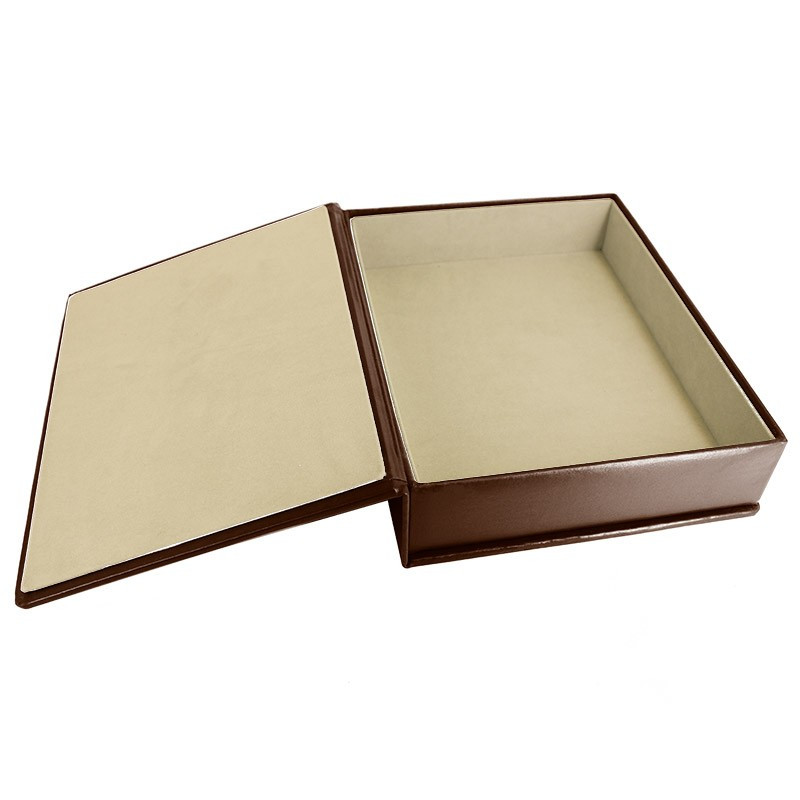 Cuoio leather box -  smooth brown calfskin - Conti Borbone - flocked interior
